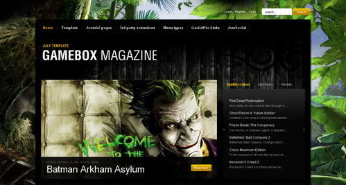 Gamebox v1.0.13 шаблон Joomla от GavickPro